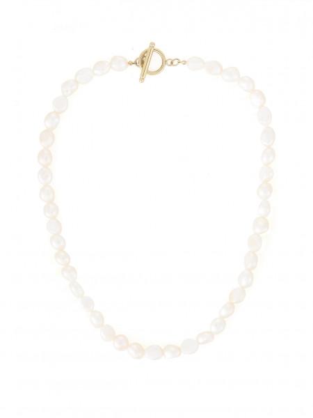 Perlenkette Mit T-Steg-Verschluss In Gold