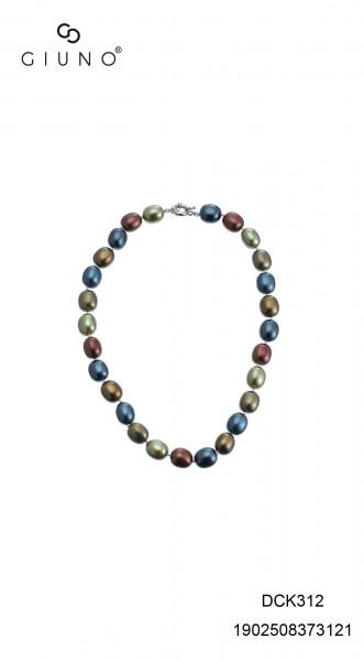 Perlenkette Kurz Oval Verschiedene Grüntöne