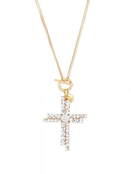 Verstellbare Kette In Gold Mit Kreuz-Anhänger Aus Kristall Weiss