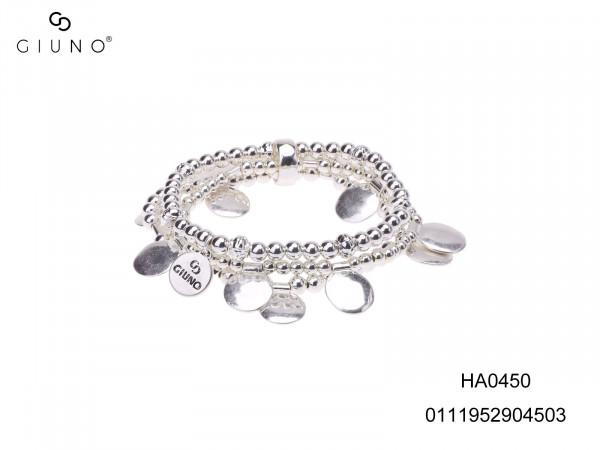 Dreireihige Metallperlenarmband, Silber