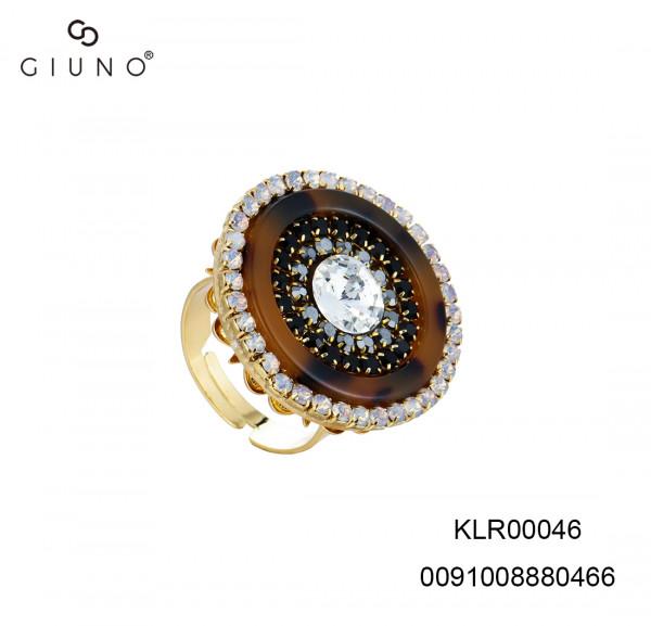 Ring In Hornoptik Mit Glassteinen Schwarz One Size