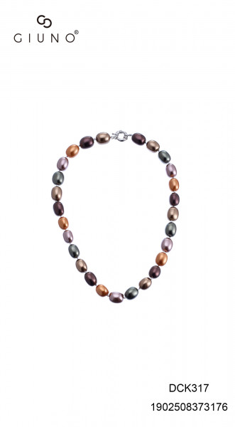 Perlenkette Kurz Oval Mehrfarbig