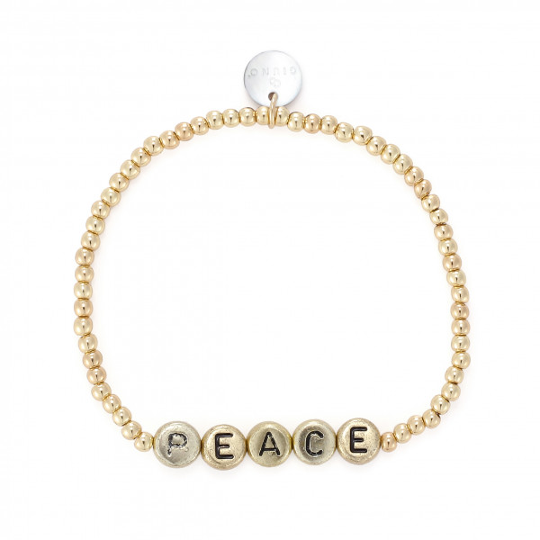 Peace Armband Mit Gummizug In Gold