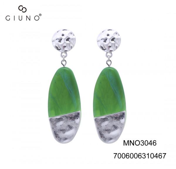 Ohrringe grün/silber ovale Form