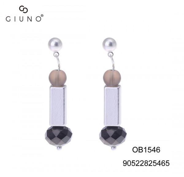 Ohrringe Mit Metallapplikation Silber Und Glaskristallen Grau/Schwarz