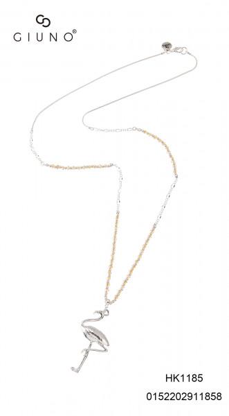 Metall-Glasperlenkette silber mit Galsperlen schwarz und Flamingoanhänger
