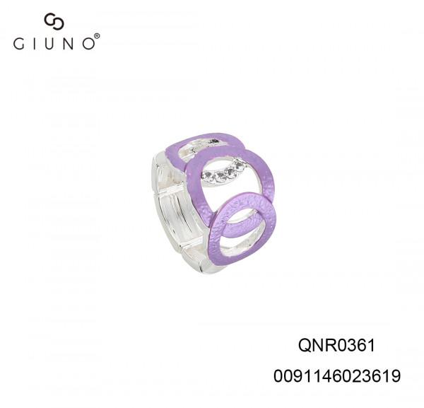 Metallring in sich übergehende Kreise violett mit Strasssteinen