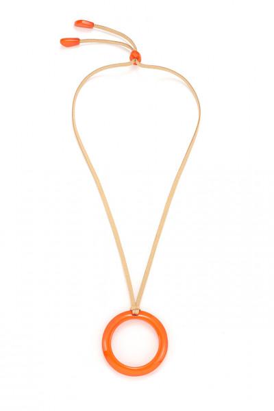 Wildlederkette Beige Lang Mit Ring-Anhänger Aus Acryl In Orange