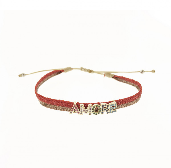 Schmaler Stoffarmband Amore In Rot