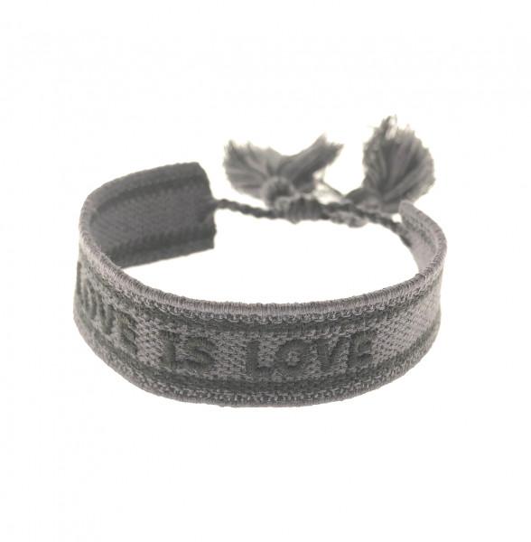 Love Is Love Stoffarmband In Dunkelgrau