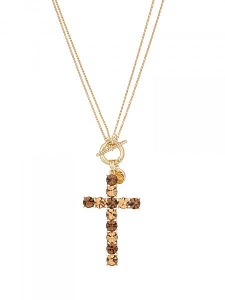 Verstellbare Kette In Gold Mit Kreuz-Anhänger Aus Kleinen Kristall Braun