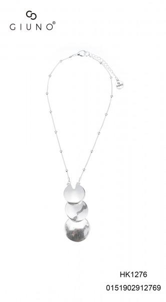 Metallkette kurz silber mit 3 runden untereinander hängenden Applikationen