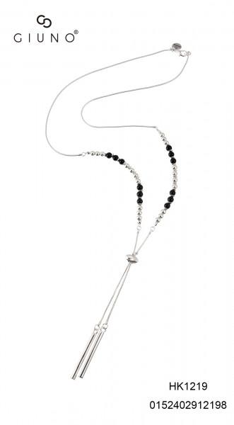 Metall-Glasperlenkette Silber