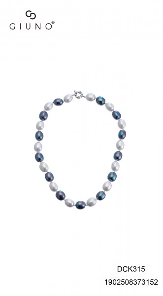 Perlenkette kurz oval blau/weiss