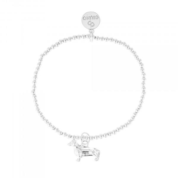 Kleine Perlenarmband Mit Dackel-Anhänger In Silber