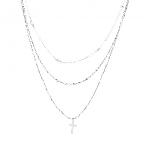 Dreireihige Kette Aus Edelstahl Mit Kreuzanhänger In Silber