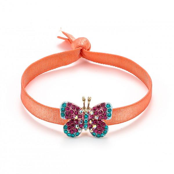 Elastischer Armband Orange Mit Schmetterling