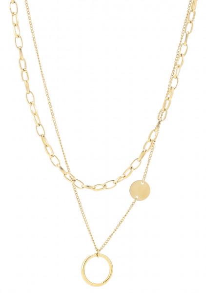 Zweireihige Edelstahlkette Ring Gold