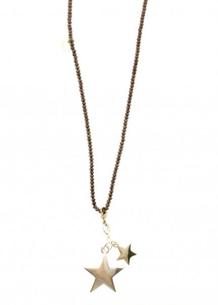 Kristallkette Bronze Mit Stern-Anhänger In Silber/Gold
