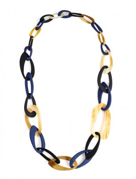 Lange Gliederkette Mit Grossen Ringen Aus Acryl In Blau/Beige