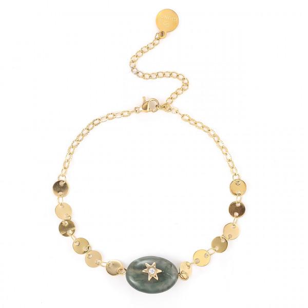 Edelstahl Armband In Gold Mit Natur Stein