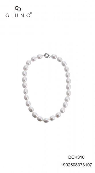 Perlenkette Kurz Oval Weiss
