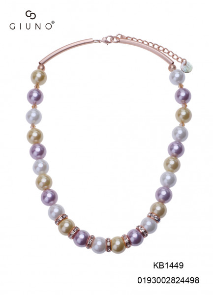 Perlenkette gelb/weiss/rosa mit Metallapplikationen- und spange rosè