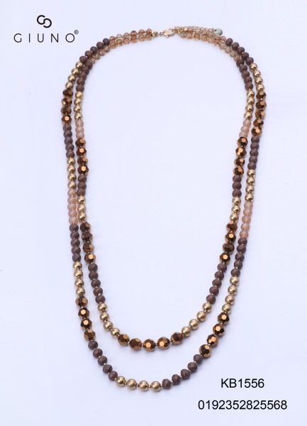 Kristallkette Lang Braun/Gold