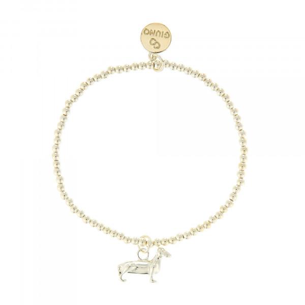 Kleine Perlenarmband Mit Dackel-Anhänger In Gold