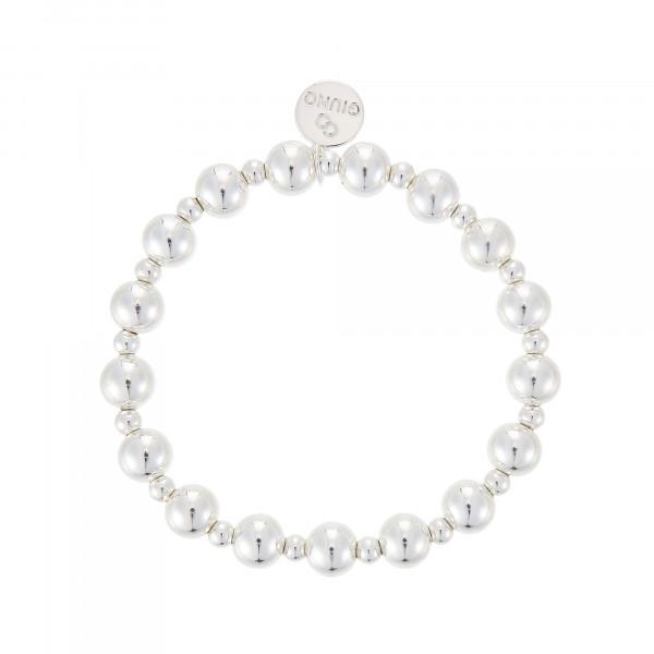 Großen Perlenarmband Mit Gummizug In Silber