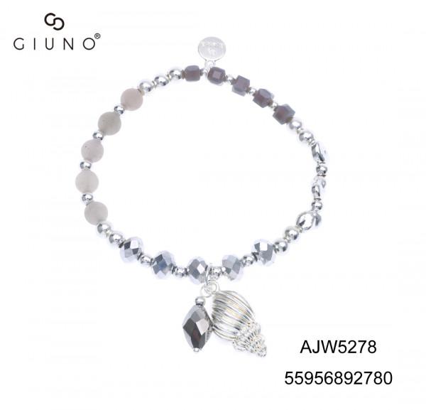 Metallperlen und Glaskristallperlen Armband mit Anhänger silber