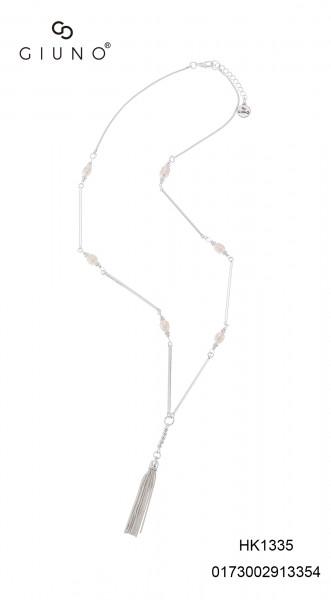 Metallkette In Silber Mit Perlen Und Tassel