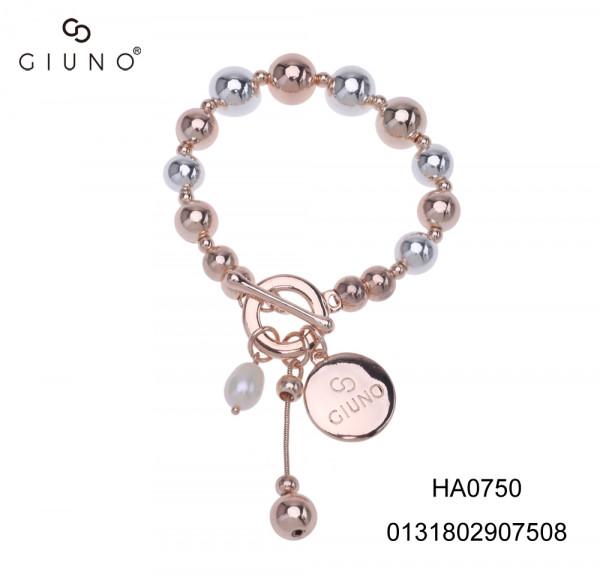 Metallperlenarmband Silber/Rose Mit Ringverschluss