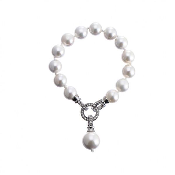 Perlen Armband Weiss Mit Strassstein Verschluss