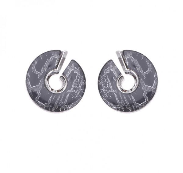 Ohrringe schwarz rund mit offenem Spalt