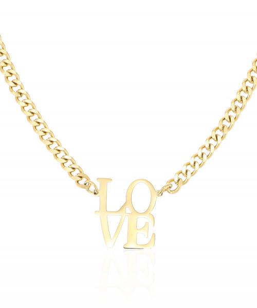 Edelstahlkette Gold Mit Love