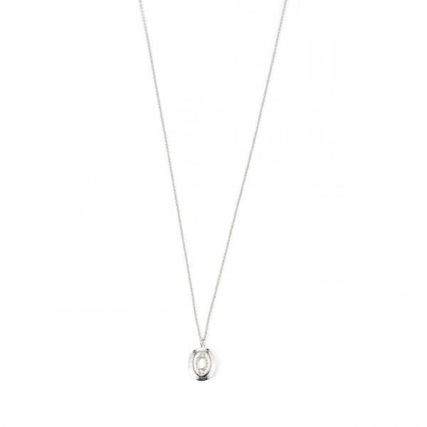Metallkette Lang Mit Oval-Medaillon In Silber