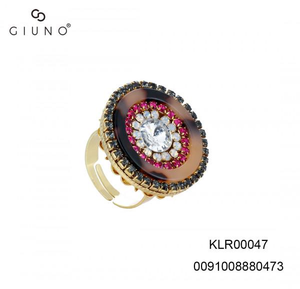 Ring In Hornoptik Mit Glassteinen Rot One Size