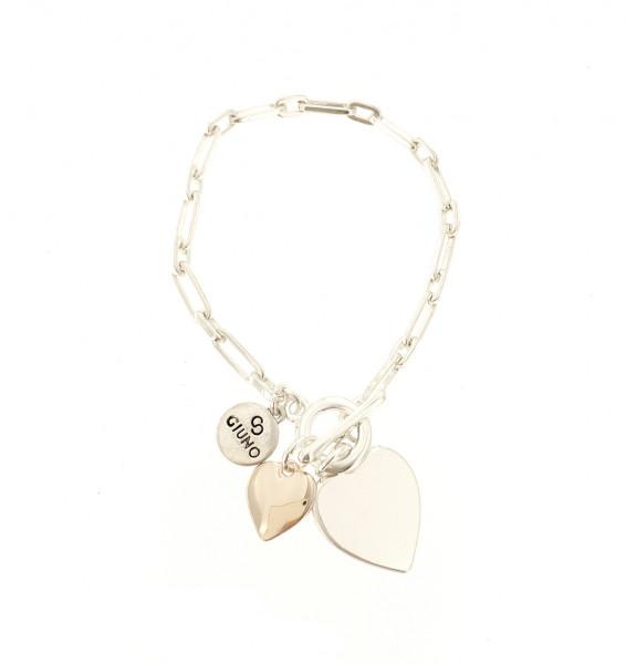 Gliederarmband Mit Doppelten Herz-Anhänger Silber/Rose
