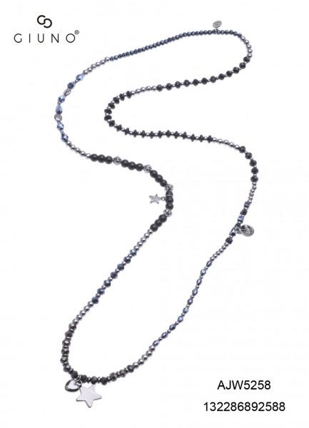 Kristallperlenkette Schwarz/Metalloptik Mit Anhänger Stern Und Herz Schwarz
