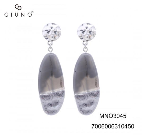 Ohrringe Schwarz-Weiss/Silber Ovale Form