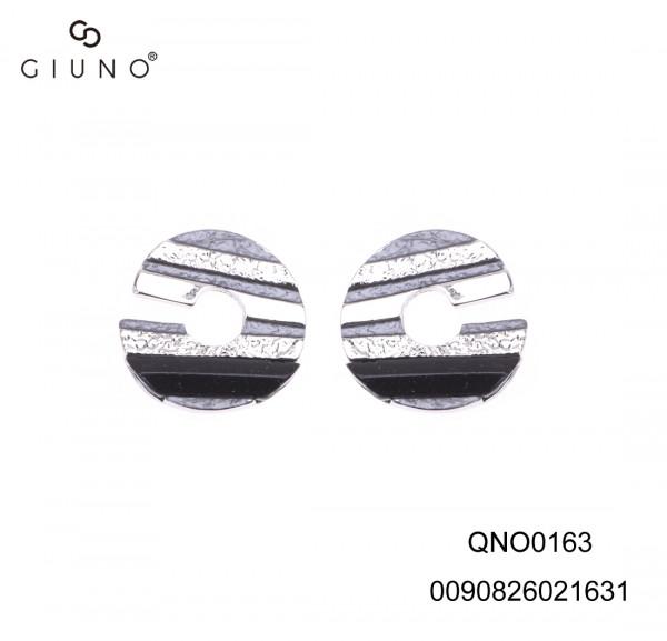 Ohrringe Schwarz/Silber/Grau Gestreift Mit Offenem Spalt