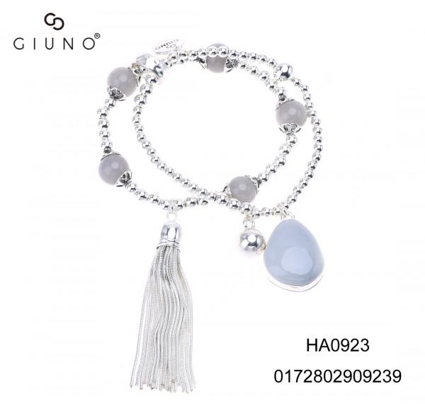 Metallperlenarmband Silber Mit Glassteinen Rund Grau Und Resinstein Weiss Artikel-Nr.: Ha0923